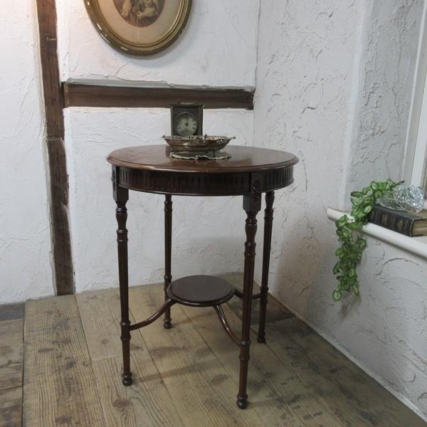 イギリス アンティーク 家具 オケージョナルテーブル サイドテーブル 飾り棚 花台 木製 マホガニー 英国 SMALLTABLE 6779b_画像1