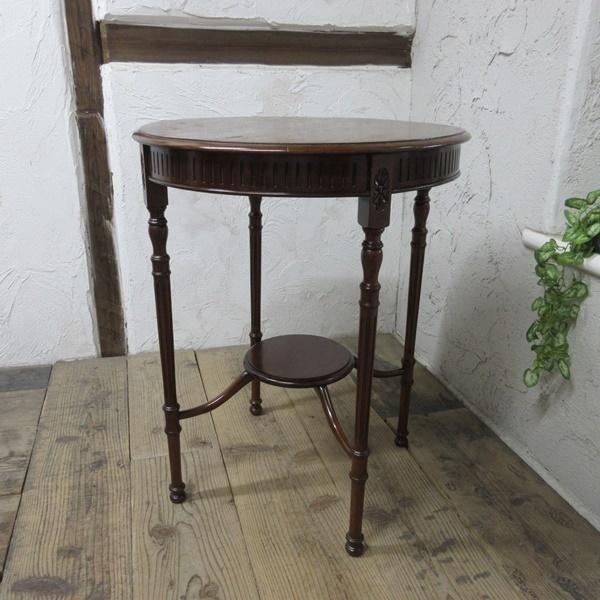 イギリス アンティーク 家具 オケージョナルテーブル サイドテーブル 飾り棚 花台 木製 マホガニー 英国 SMALLTABLE 6779b_画像2