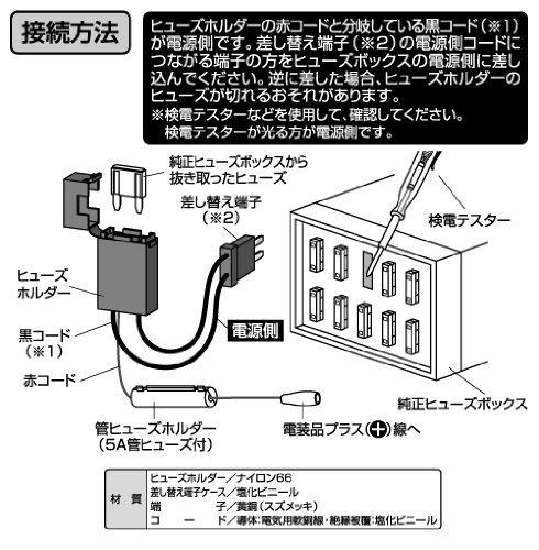 ミニ平型 フリータイプヒューズ電源(ミニ平型) DC12V・60W/DC24V・120W エーモン 2835_画像6