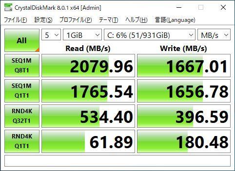 第7世代 i7-7700(4.2GHz×8)◆超大容量メモリ40GB◆新品SSD(M.2) 1TB◆新品HDD 4TB◆HDMI◆DP◆USB3.0◆Wi-Fi(無線)◆Win10◆MS Office2019_SSD1TB(M.2)の速度計測(SATA/SSDの3倍以上)
