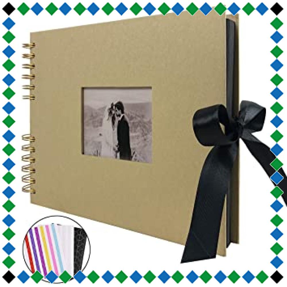 ☆イエロー フォトアルバム 手作りアルバム 黒台紙写真集 フォトフレームブック 結婚式のスクラップブック DIY プレゼント (_画像1