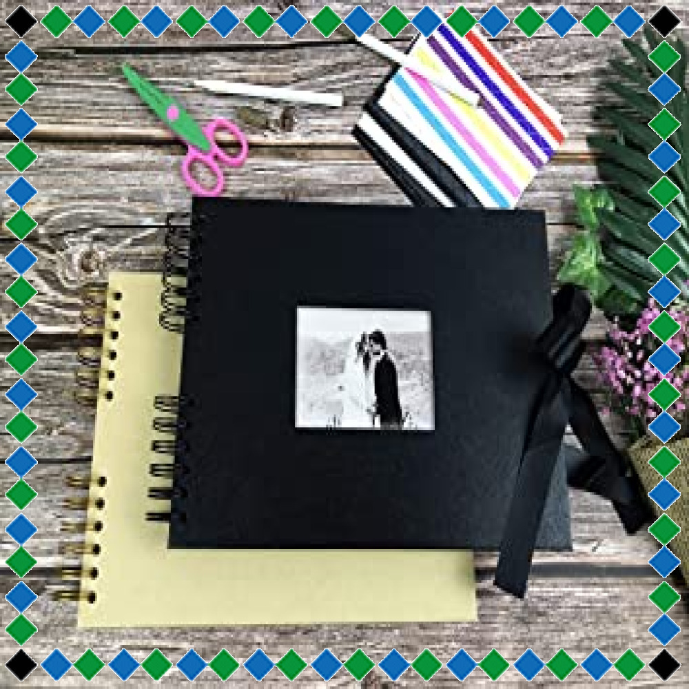 ☆イエロー フォトアルバム 手作りアルバム 黒台紙写真集 フォトフレームブック 結婚式のスクラップブック DIY プレゼント (_画像6