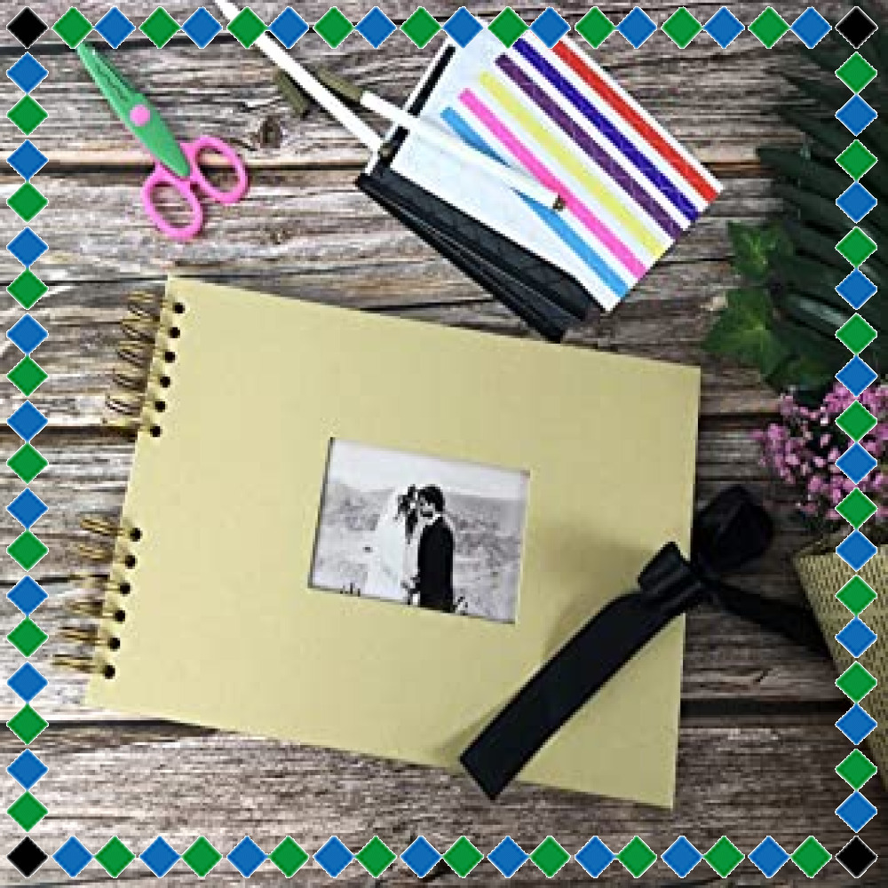 ☆イエロー フォトアルバム 手作りアルバム 黒台紙写真集 フォトフレームブック 結婚式のスクラップブック DIY プレゼント (_画像4