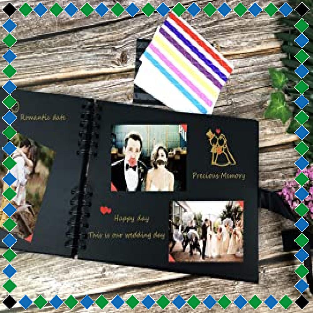 ☆イエロー フォトアルバム 手作りアルバム 黒台紙写真集 フォトフレームブック 結婚式のスクラップブック DIY プレゼント (_画像5
