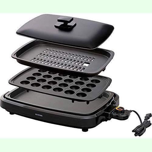 【新品】アイリスオーヤマ ホットプレート たこ焼き 焼肉 平面 プレート 3枚 網焼き 蓋付き ブラック APA-137-B_画像1