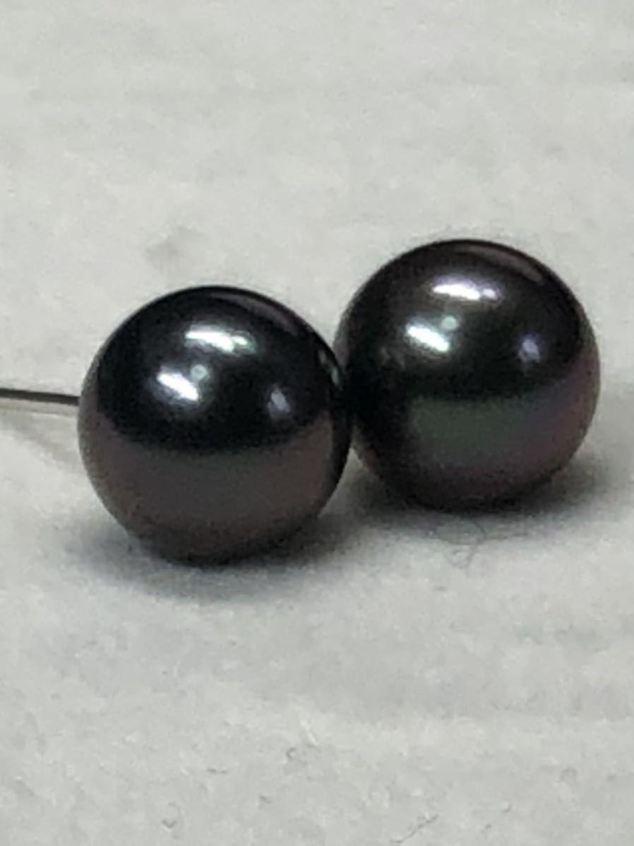 K14WG天然タヒチ産黒蝶真珠(8、0mm)ピアス直結タイプ自社製パールジュエリー色照り良し_画像6