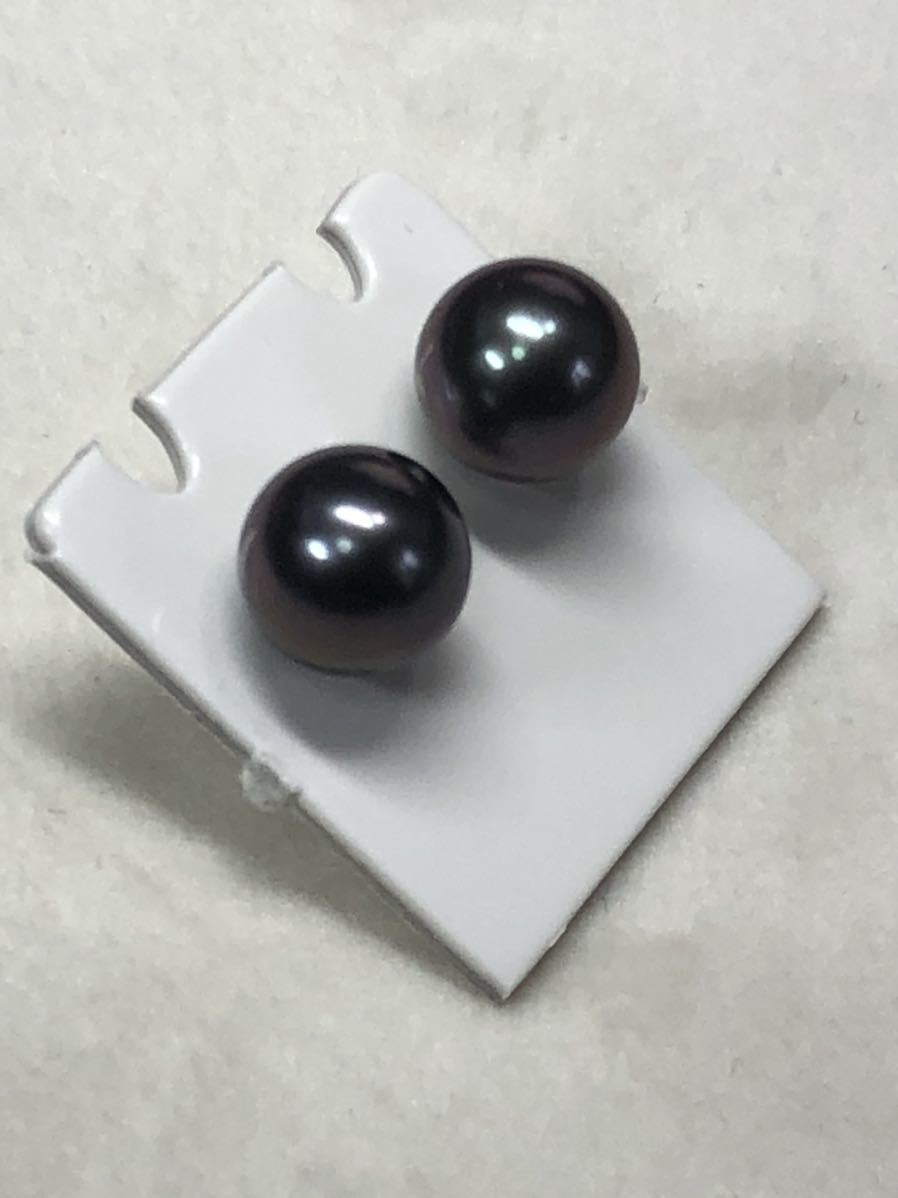 K14WG天然タヒチ産黒蝶真珠(8、0mm)ピアス直結タイプ自社製パールジュエリー色照り良し_画像3