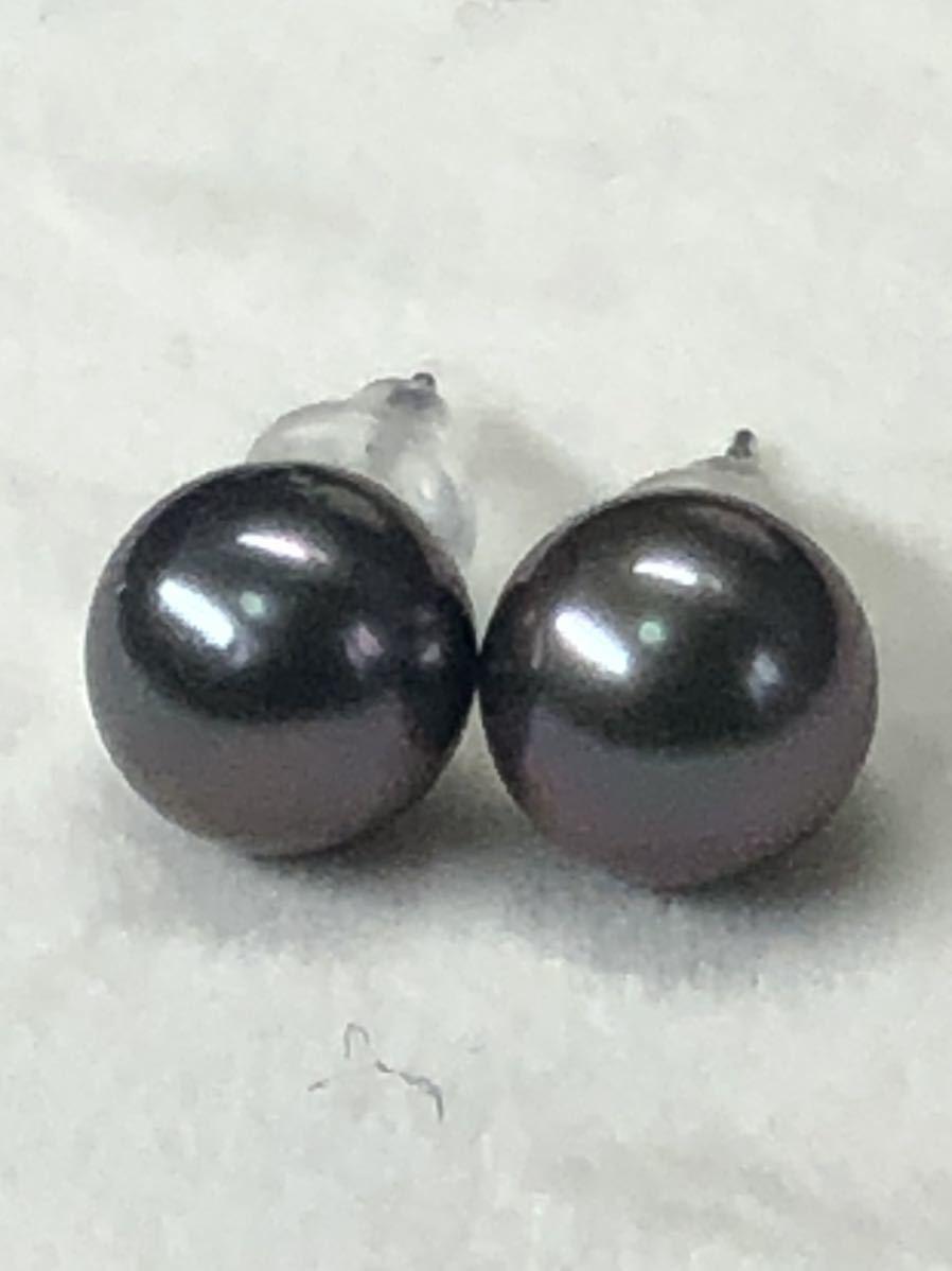 K14WG天然タヒチ産黒蝶真珠(8、0mm)ピアス直結タイプ自社製パールジュエリー色照り良し_画像10