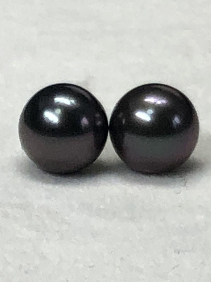 K14WG天然タヒチ産黒蝶真珠(8、0mm)ピアス直結タイプ自社製パールジュエリー色照り良し_画像5