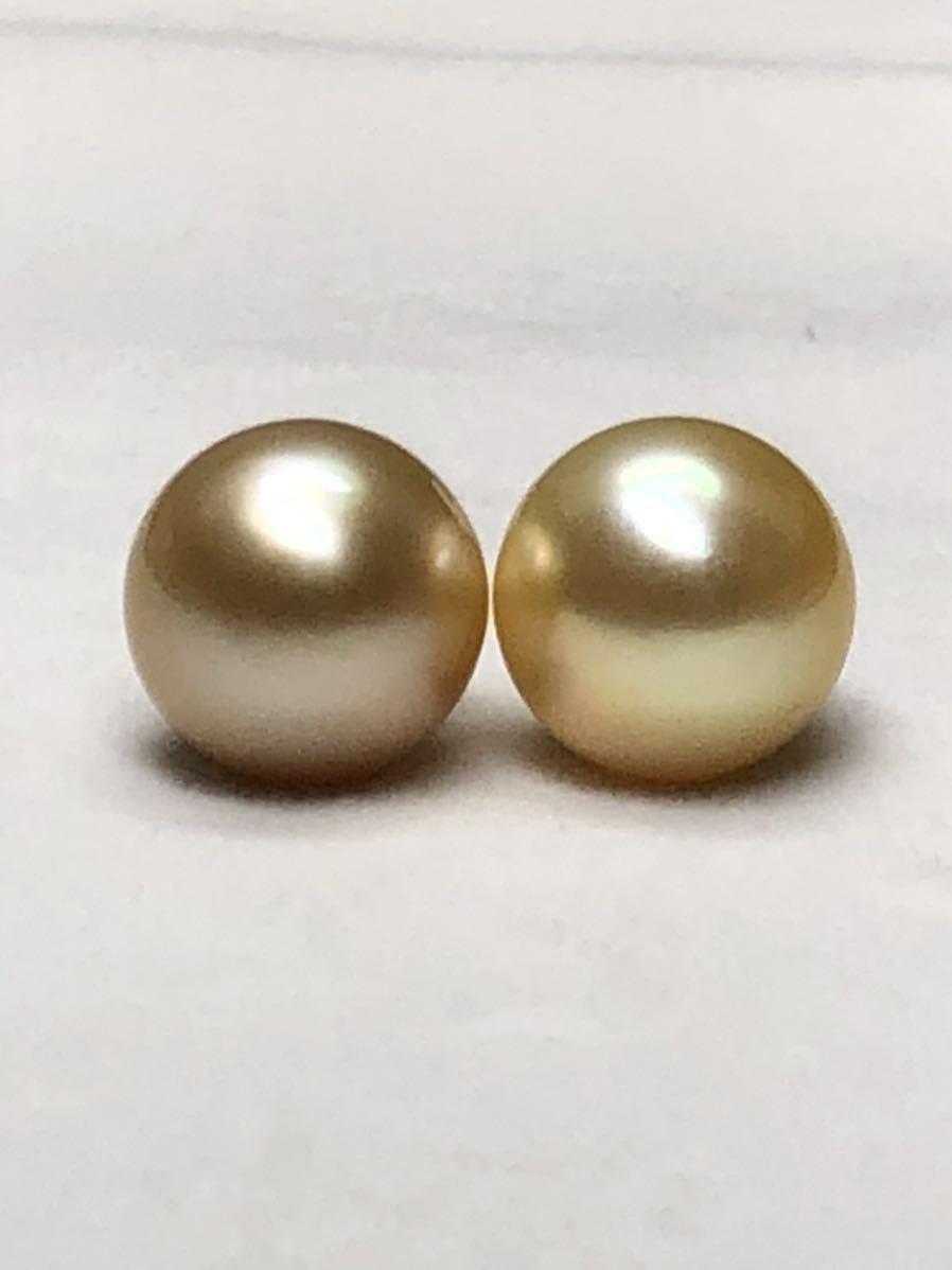 k18天然ナチュラル南洋ゴールド真珠(特大13、8mm)ピアス直結タイプ自社製パールジュエリー色照り良し_画像1