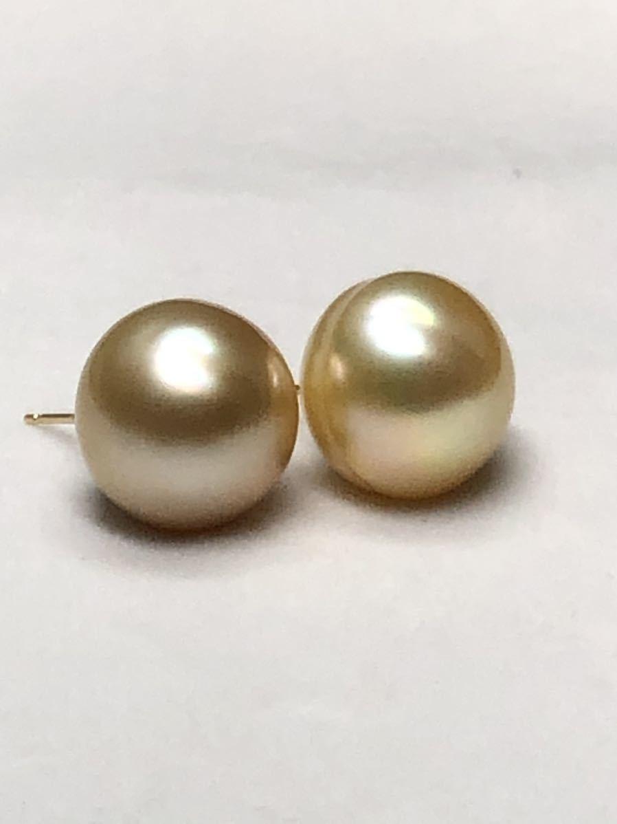 k18天然ナチュラル南洋ゴールド真珠(特大13、8mm)ピアス直結タイプ自社製パールジュエリー色照り良し_画像6