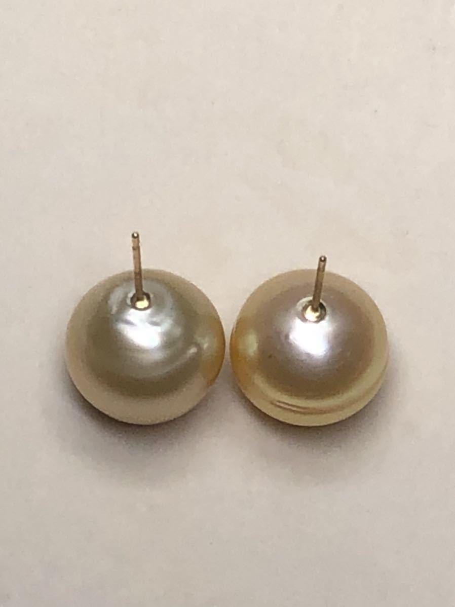 k18天然ナチュラル南洋ゴールド真珠(特大13、8mm)ピアス直結タイプ自社製パールジュエリー色照り良し_画像8
