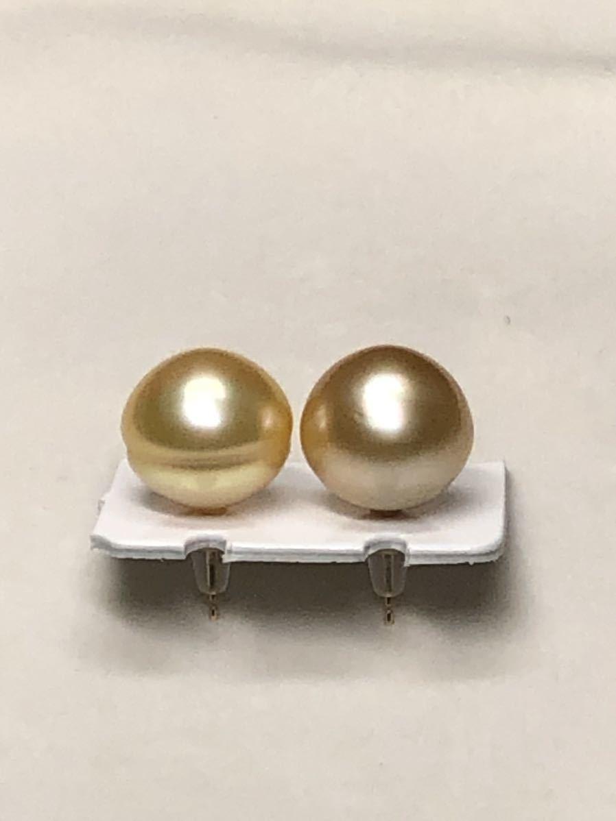 k18天然ナチュラル南洋ゴールド真珠(特大13、8mm)ピアス直結タイプ自社製パールジュエリー色照り良し_画像5