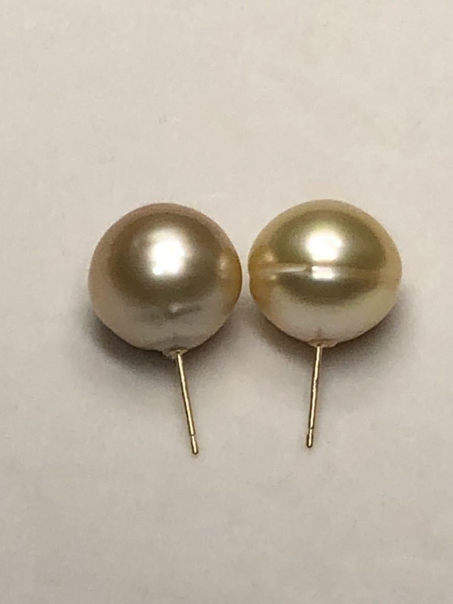 k18天然ナチュラル南洋ゴールド真珠(特大13、8mm)ピアス直結タイプ自社製パールジュエリー色照り良し_画像9