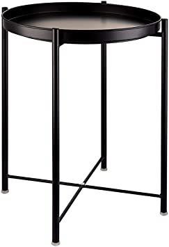 ブラック EKNITEY サイドテーブル トレイテーブル リビング ソファ テーブル ナイトテーブル 部屋飾り 組み立て簡単 オ_画像1