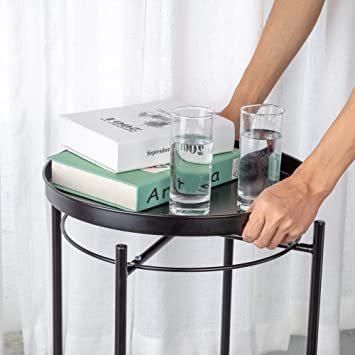 ブラック EKNITEY サイドテーブル トレイテーブル リビング ソファ テーブル ナイトテーブル 部屋飾り 組み立て簡単 オ_画像5