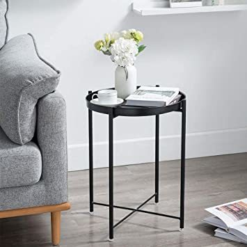 ブラック EKNITEY サイドテーブル トレイテーブル リビング ソファ テーブル ナイトテーブル 部屋飾り 組み立て簡単 オ_画像2