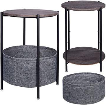 Medium EKNITEY サイドテーブル トレイテーブル リビング ソファ テーブル ナイトテーブル 幅41cmx高さ56c_画像7