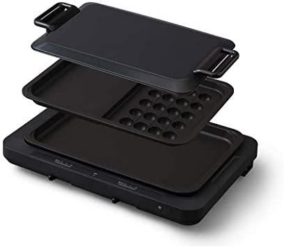 1)ブラック 2)プレート2枚 アイリスオーヤマ ホットプレート たこ焼き 平面 タイプ 左右温度調整 2枚 アタッチメント付 _画像1