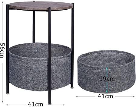 Medium EKNITEY サイドテーブル トレイテーブル リビング ソファ テーブル ナイトテーブル 幅41cmx高さ56c_画像5