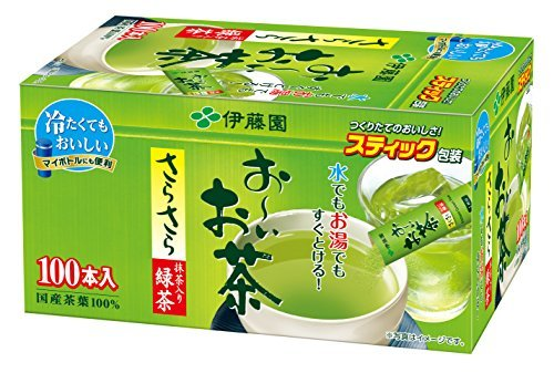 緑茶 100本 (スティックタイプ) 伊藤園 おーいお茶 抹茶入りさらさら緑茶 0.8g×100本 (スティックタイプ)_画像1