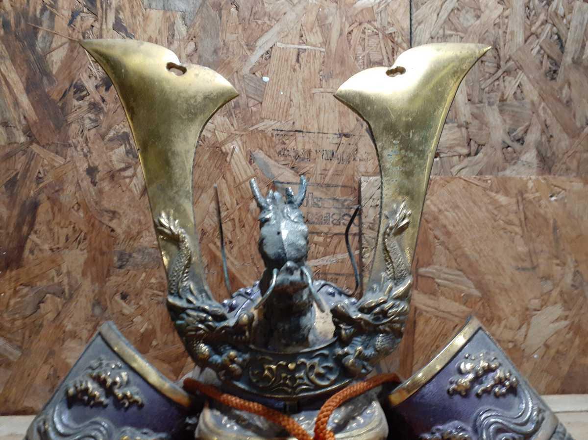 八幡大菩薩前立 鉄黒漆塗八間二方白星兜   甲冑 鎧兜 具足 大名道具 五月人形 飾り 置物 H_画像3