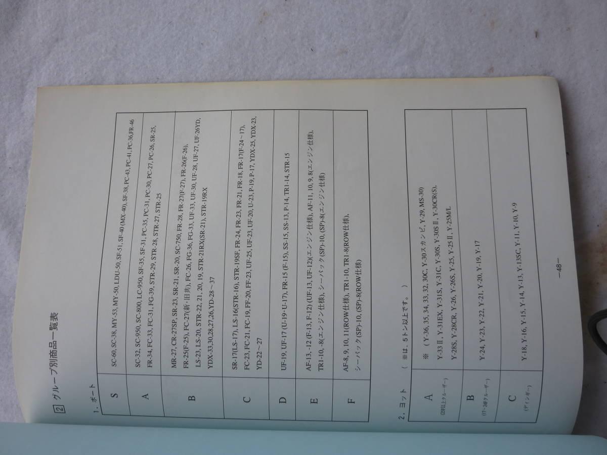 ヤマハ 1996y ヤマハ  中古艇ハンドブック セールスマン用 社外秘 前頁付き_画像5