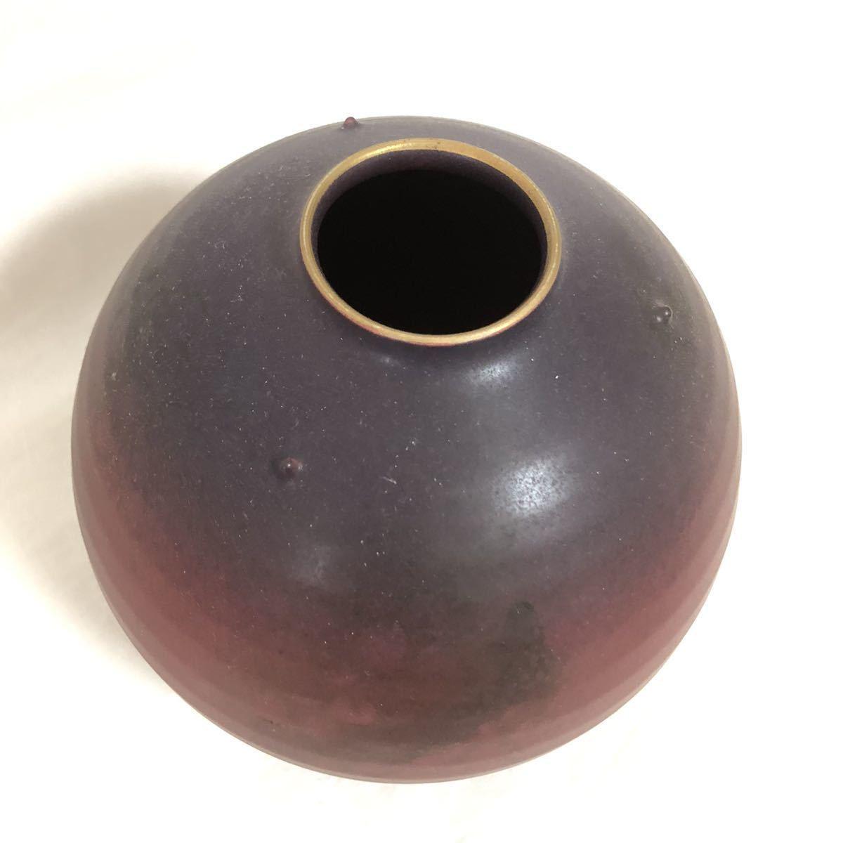 ★1円スタート!! オススメ!! ★ 花瓶 壺 ツボ 花 置物 インテリア 陶芸 陶器 土器 陶磁器 工芸品 口直径約4.4cm 胴回り約54cm 高さ約16cm