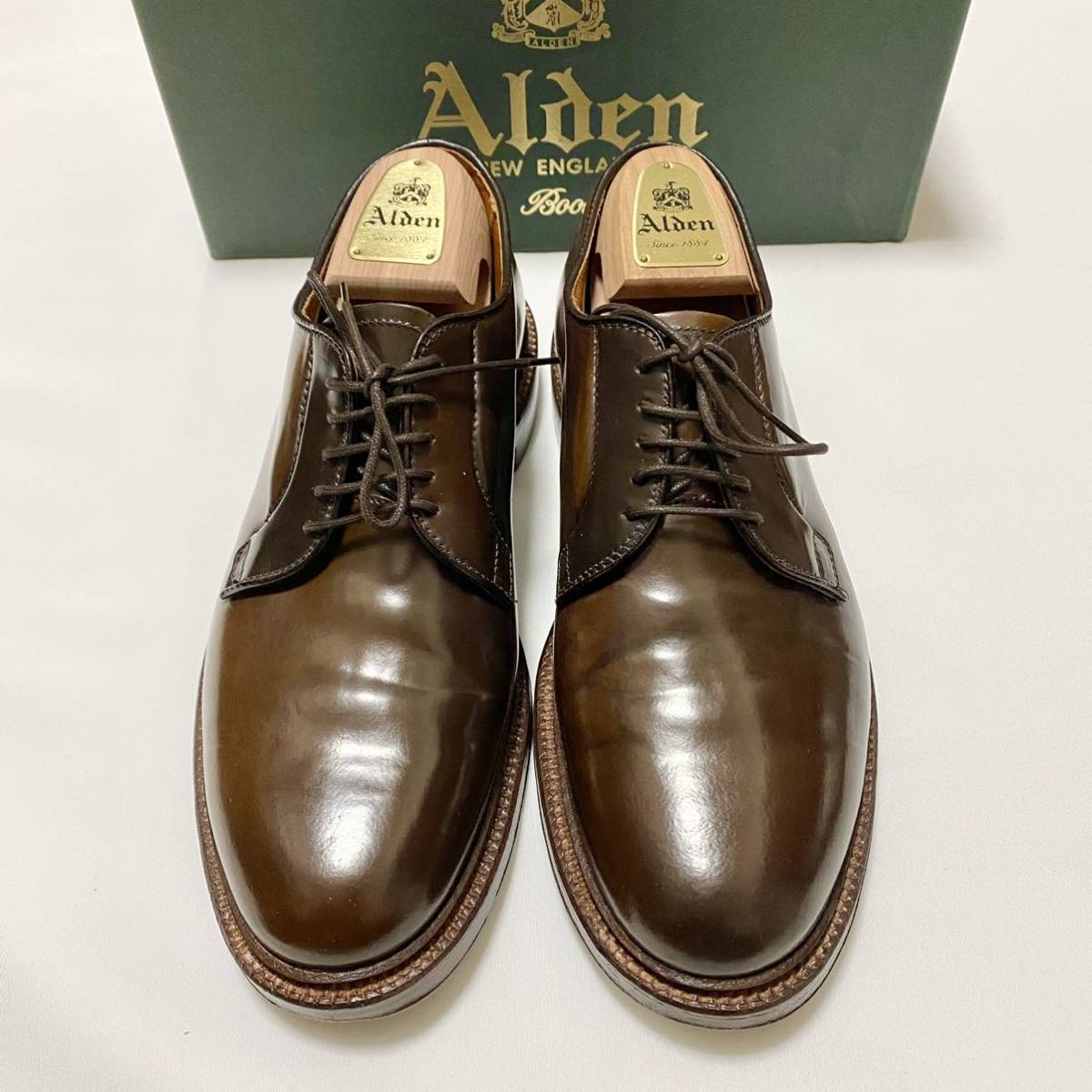 【着用3回】Alden Cigar Cordovan オールデン シガー コードバン PTB プレーントゥ 8E #93911_画像1