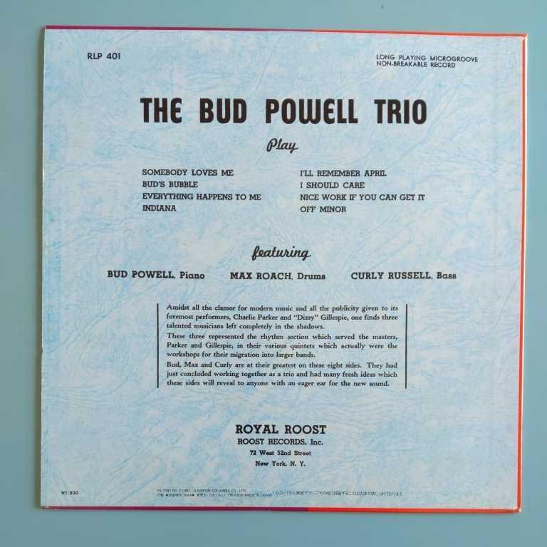 【美盤/試聴済LP】Bud Powell Trio『バド・パウエルの芸術』A面マックス・ローチ(dr)カーリー・ラッセル(b)★Columbia YS-7081-RO_画像2