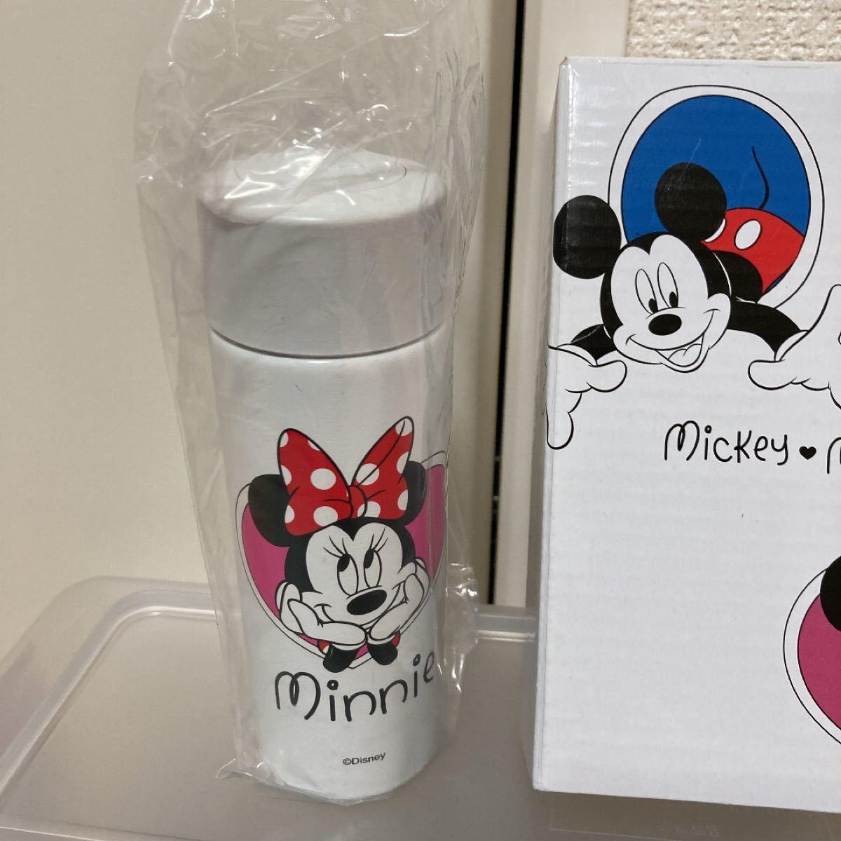 容量120mlの小さな水筒☆ミッキー&ミニーのステンレスボトル、2コセット、新品未使用、ノベルティ