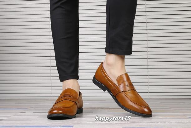ローファー メンズ スリッポン ビジネスシューズ カジュアル  ドライビングシューズ 紳士靴 通学 イエロー 24.5cm_画像8