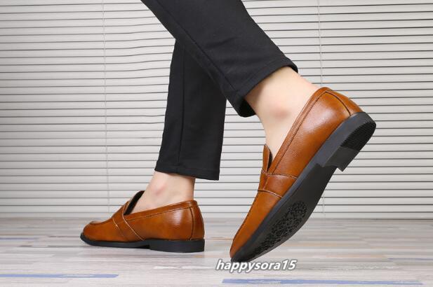 ローファー メンズ スリッポン ビジネスシューズ カジュアル  ドライビングシューズ 紳士靴 通学 イエロー 25.5cm_画像9