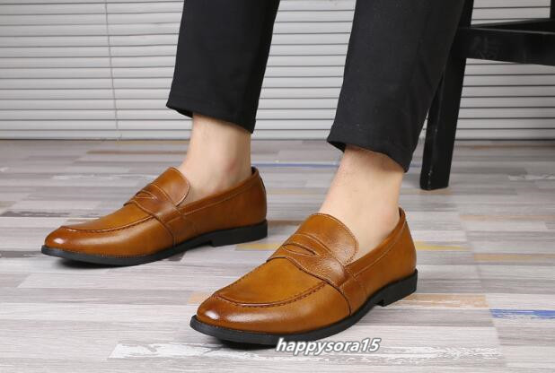 ローファー メンズ スリッポン ビジネスシューズ カジュアル  ドライビングシューズ 紳士靴 通学 イエロー 25.5cm_画像7