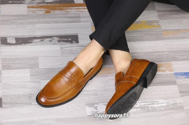 ローファー メンズ スリッポン ビジネスシューズ カジュアル  ドライビングシューズ 紳士靴 通学 イエロー 25.5cm_画像6