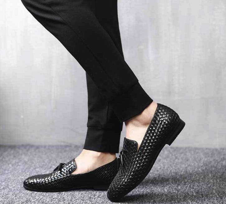 ローファー メンズ スリッポン 編み柄 ドライビングシューズ カジュアル ビジネス 通気 紳士靴 ブラック 25.5cm_画像5