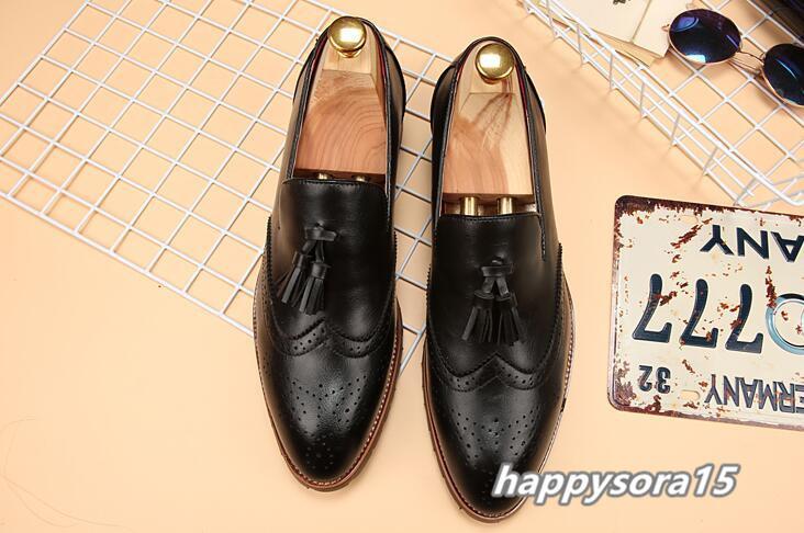 新品 スリッポン メンズ ローファー ビジネスシューズ ドライビングシューズ 紳士靴 タッセル ローカット ブラック25.5cm_画像2