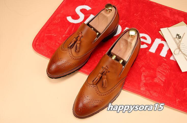 新品 スリッポン メンズ ローファー ビジネスシューズ ドライビングシューズ 紳士靴 タッセル ローカット ブラウン 26.5cm_画像4