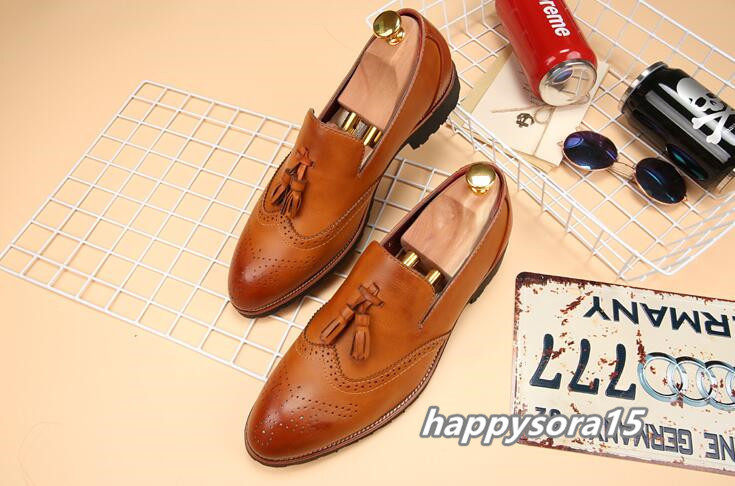 新品 スリッポン メンズ ローファー ビジネスシューズ ドライビングシューズ 紳士靴 タッセル ローカット ブラウン 26.5cm_画像1