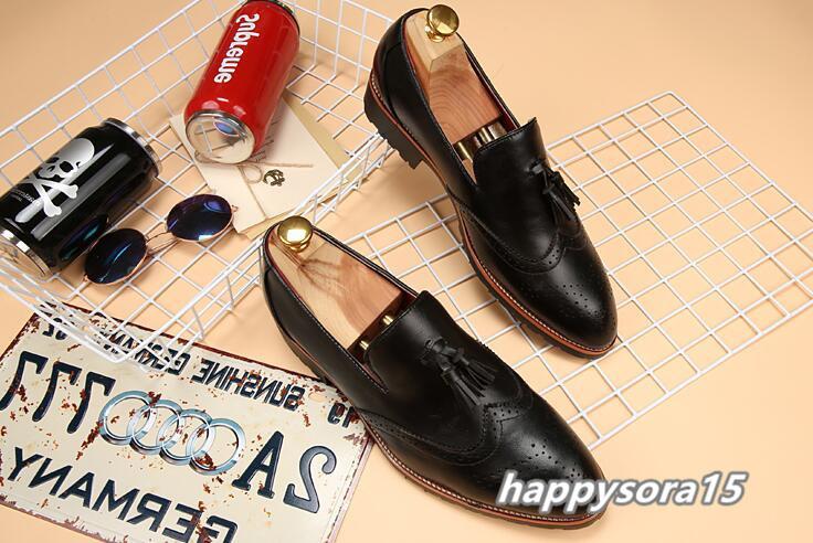 新品 スリッポン メンズ ローファー ビジネスシューズ ドライビングシューズ 紳士靴 タッセル ローカット ブラック25.5cm_画像3