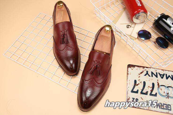 新品 スリッポン メンズ ローファー ビジネスシューズ ドライビングシューズ 紳士靴 タッセル ローカット ワイン 24.5cm_画像4