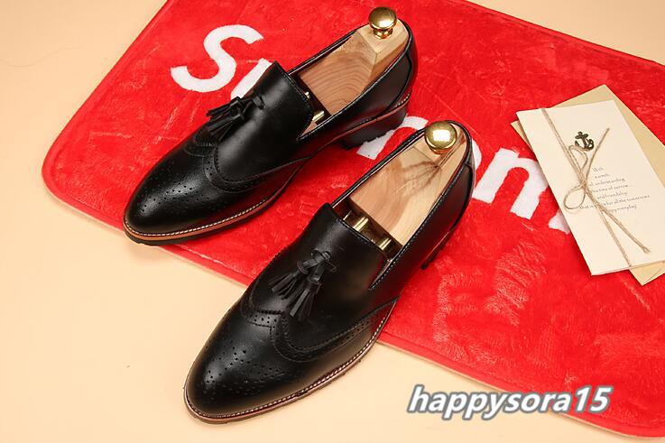 新品 スリッポン メンズ ローファー ビジネスシューズ ドライビングシューズ 紳士靴 タッセル ローカット ブラック25.5cm_画像4