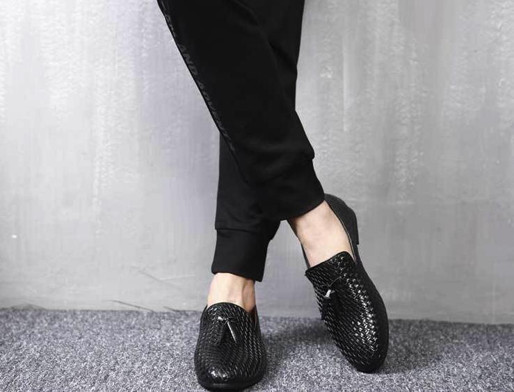 ローファー メンズ スリッポン 編み柄 ドライビングシューズ カジュアル ビジネス 通気 紳士靴 ブラック 25.5cm_画像3