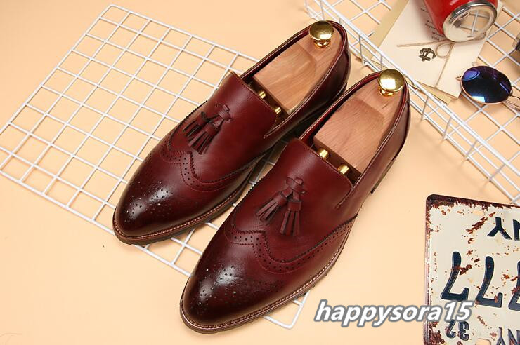新品 スリッポン メンズ ローファー ビジネスシューズ ドライビングシューズ 紳士靴 タッセル ローカット ワイン 26.5cm_画像1