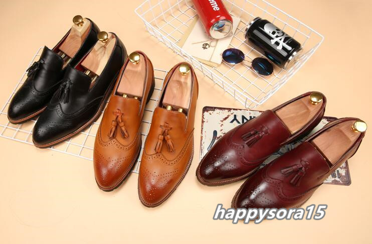 新品 スリッポン メンズ ローファー ビジネスシューズ ドライビングシューズ 紳士靴 タッセル ローカット ブラック26.5cm_画像5