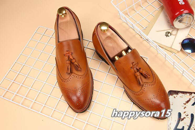 新品 スリッポン メンズ ローファー ビジネスシューズ ドライビングシューズ 紳士靴 タッセル ローカット ブラウン 26.5cm_画像3