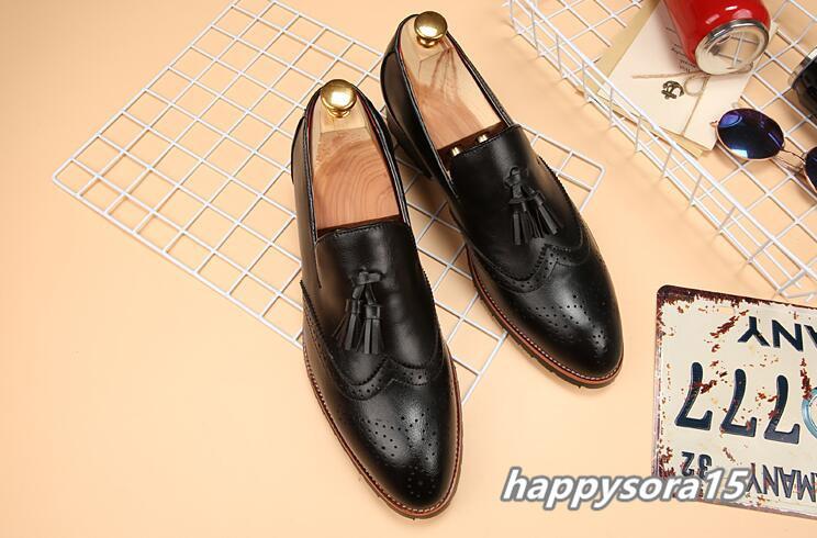 新品 スリッポン メンズ ローファー ビジネスシューズ ドライビングシューズ 紳士靴 タッセル ローカット ブラック25.5cm_画像1