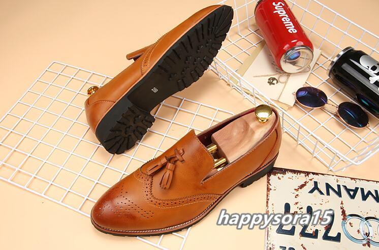 新品 スリッポン メンズ ローファー ビジネスシューズ ドライビングシューズ 紳士靴 タッセル ローカット ブラウン 26.5cm_画像2