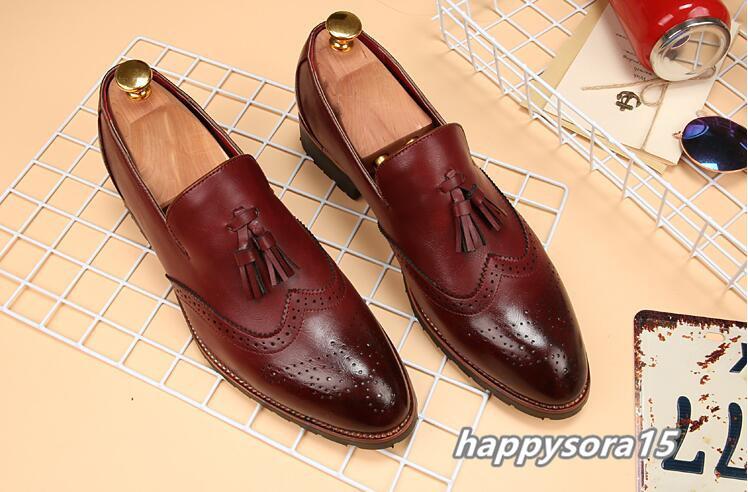 新品 スリッポン メンズ ローファー ビジネスシューズ ドライビングシューズ 紳士靴 タッセル ローカット ワイン 24.5cm_画像3