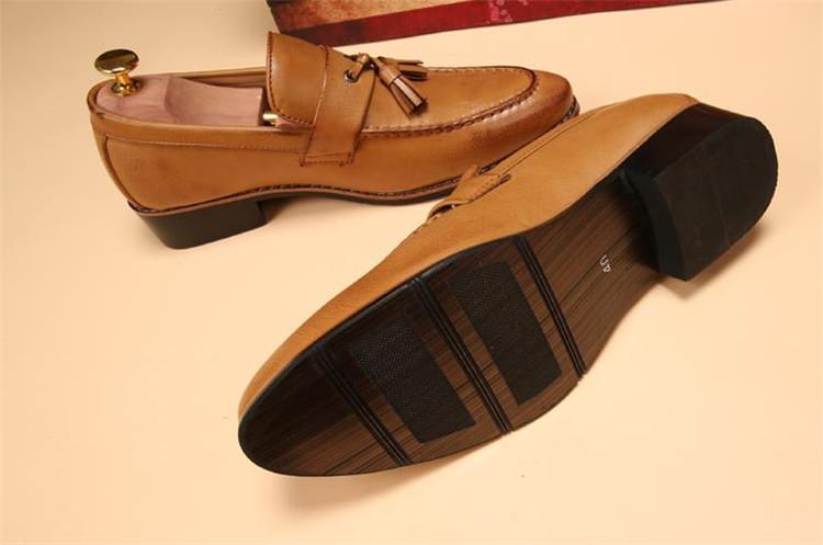 ローファー メンズ スリッポン ビジネスシューズ ドライビングシューズ 学生靴 紳士靴 タッセル ローカット ブラウン 26.5cm_画像4